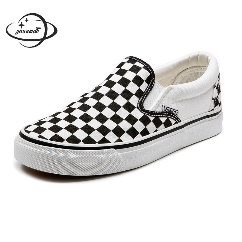Vulcanize Shoes Checkered Slip-On Autumn Womens Ladies Spring Canvas Y34 Wear-Resistant