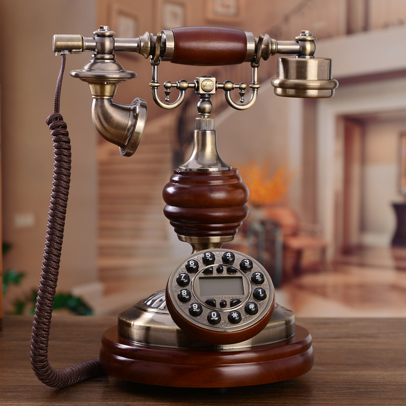 The old European antique telephone landline home office American retro wood metal corded phone ringing tones