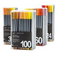 Цветной микрон файнлайнер набор тонкой точки 0,4 мм Эскиз Маркер лайнер для рисования пуля журнал ручка школьные маркеры художественные при...