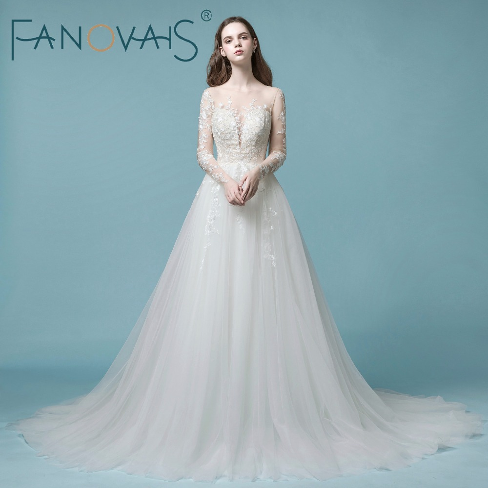 2018 Vintage Tulle Wedding Dresses Long Sleeves Lace Wedding Gowns ...