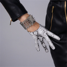 Women Fashion  Gloves 13cm Patent Leather Ultra Short Simulation PU Bright Skin Python Pattern 3-TB79