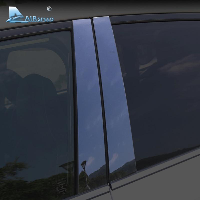 Velocidade do ar para Subaru Forester XV Outback Acessórios Do Carro Janela Pilares B Capa Guarnição Molduras em Preto Brilhante Exterior Adesivos de Carro