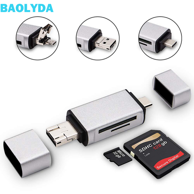 Baolyda SD Card Reader 3 in 1 USB Type C/Micro USB Male Adapter and OTG Function Portable Memory Card Reader for & PC & Laptop