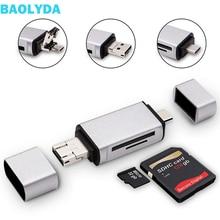 Baolyda USB kart okuyucu 3 in 1 USB Tip C/mikro USB Erkek Adaptör ve OTG Fonksiyonu Taşınabilir Bellek kart okuyucu & PC ve Dizüstü Bilgisayar