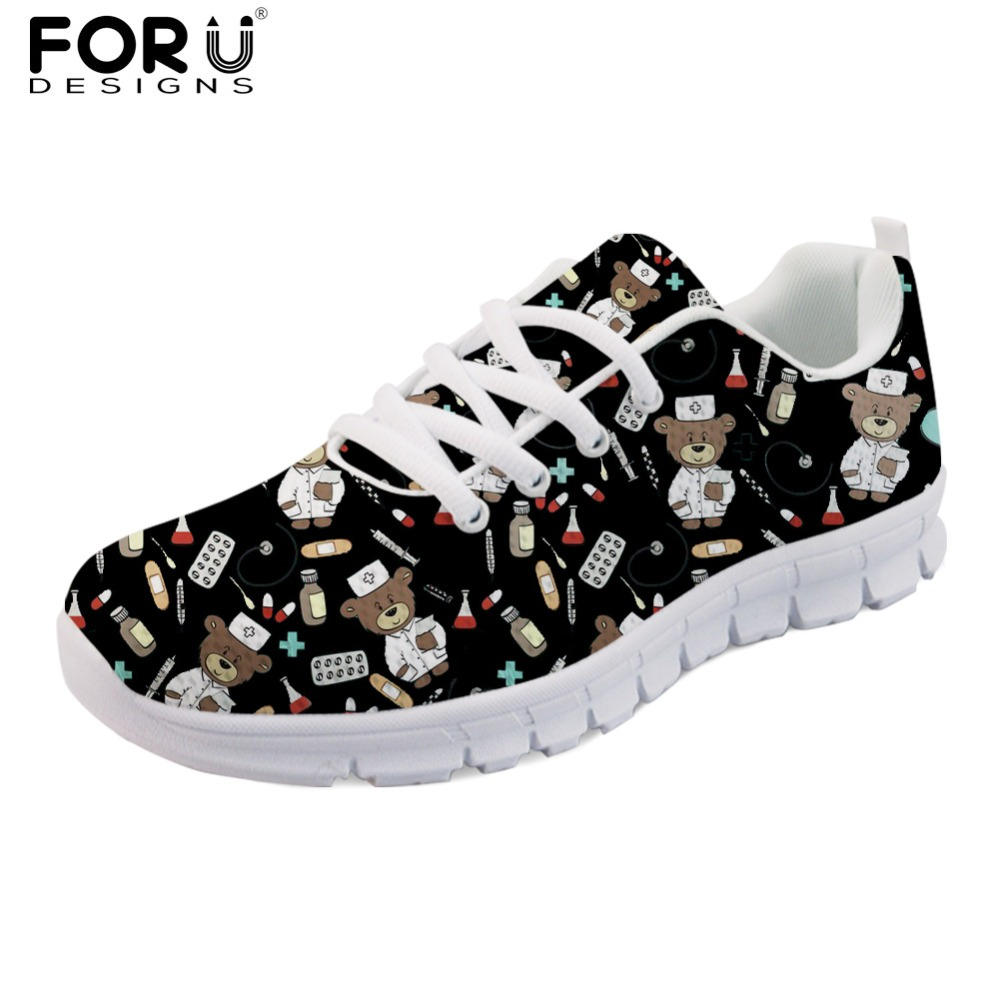 FORUDESIGNS Black Nurse Bear Pattern Flats Women Shoes Cute Breathable Comfortable Mesh Sneakers Woman Nursing Light Casual Shoe instantarts fashion women flats cute cartoon dental equipment pattern pink sneakers woman breathable comfortable mesh flat shoes