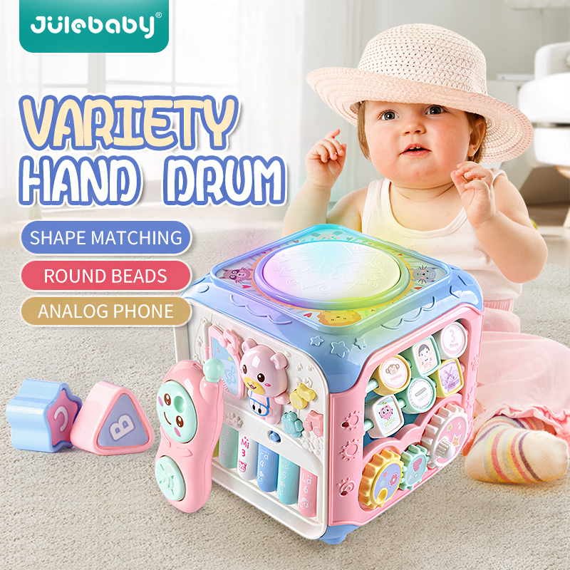 Multifunctional Musical Toys Kid Baby Box Music Electronic Toys 6-12 Months Gear Clock Geometric Blocks Sorting Educational Toys