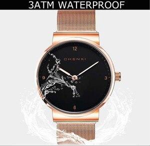 Image 5 - Moda basit bayan izle lüks şık gül altın siyah kadın saatler Top marka CHENXI su geçirmez rahat kadınlar elbise saat