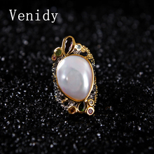 Venidy Natural Baroque Pearl Ring Inlay Tourmaline Fashion New White Pearls Jewelry Vintage Wedding Rings For Women Anniversary