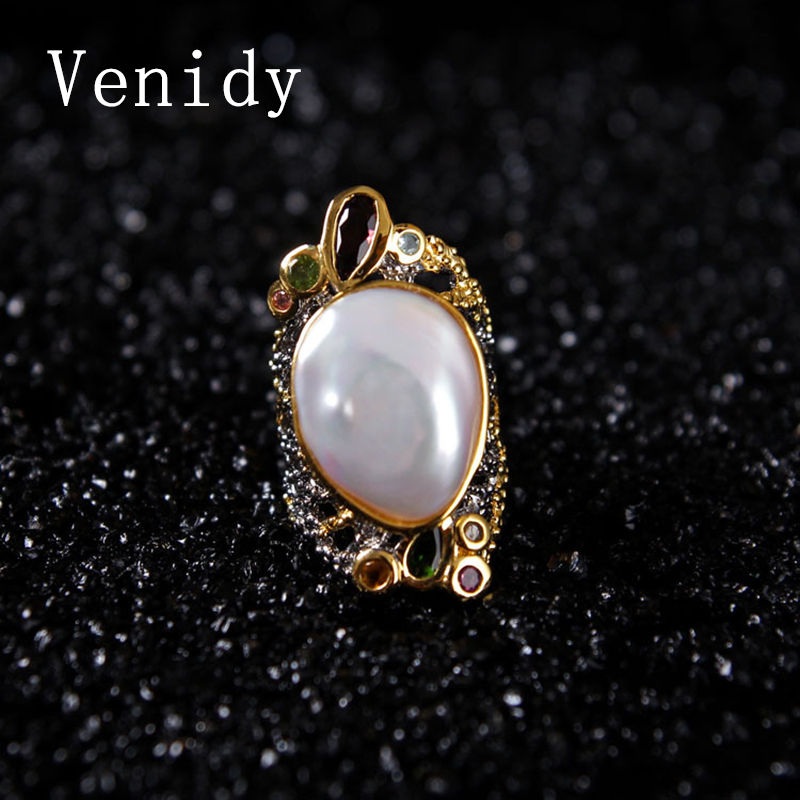 Venidy Natural Baroque Pearl Ring Inlay Tourmaline Fashion New White Pearls Jewelry