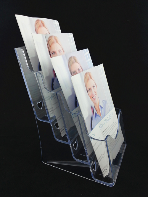 Plastic Acrylic Brochure Literature Clear A5 4 Tiers Pamphlet Display Holder Racks Stand To Insert Leaflet 2pcs/lot-in File Folder from Office & School Supplies    2
