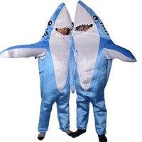 Criança Adulto Engraçado Cosplay Velo Fullbody Traje Bonito Mascote do Tubarão Azul Do Animal de Partido Trajes de Halloween para crianças