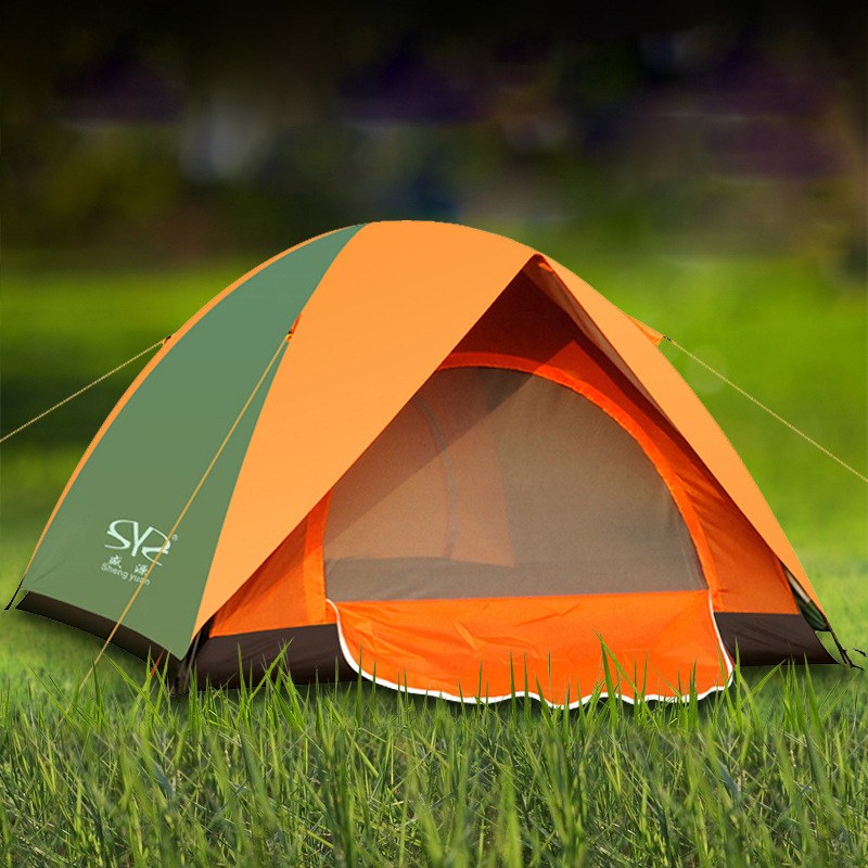 Folding Camping Tent Double Layers Outdoor Fishing Tourist Tent Ultralight Rainproof Beach Tent Hiking 3-4 Person Family Tent high quality outdoor 2 person camping tent double layer aluminum rod ultralight tent with snow skirt oneroad windsnow 2 plus
