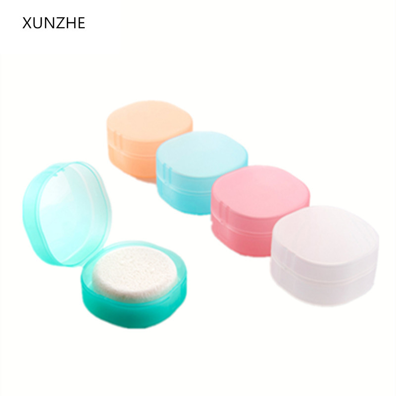 XUNZHE Round Transparent Plastic Soap Box Sponge Soap Holder Home Bathroom Accessories Set Soap Edition Fashion Soap Box