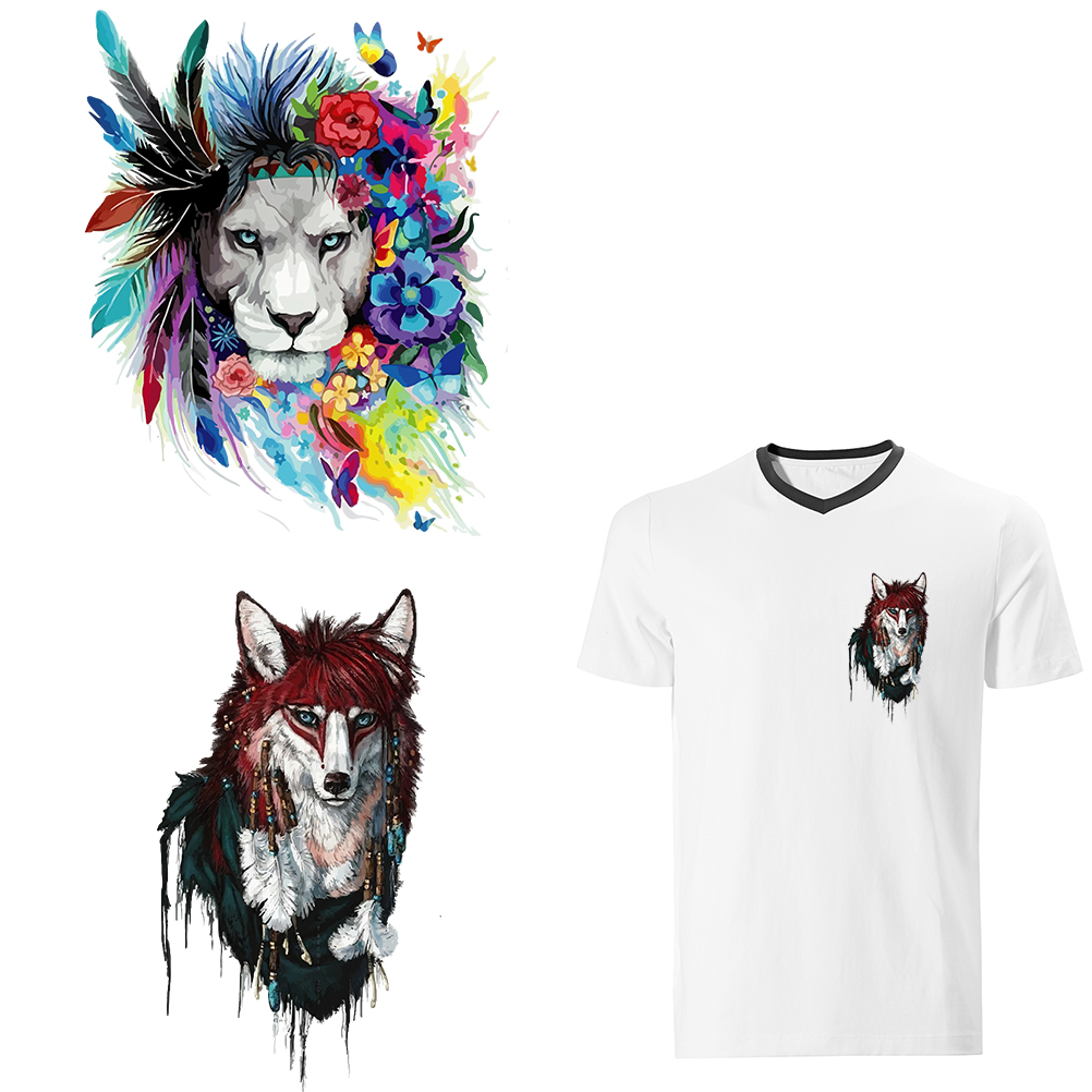 Lion And Wolf Iron On Patches For Clothing Heat Transfer Thermal Stickers Diy Decoration Appliqued For T-shirts Washable Patch