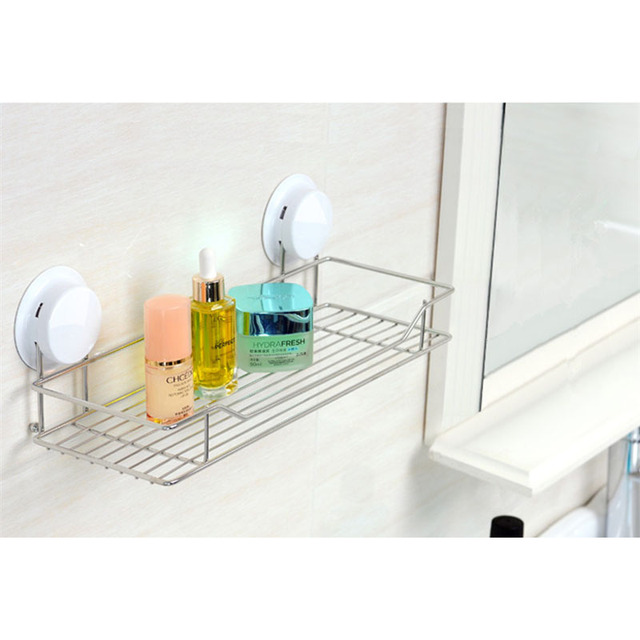 Suction Bathroom Shelf Modern Plastic Stainless Steel Bathroom Wall Hanger  Kitchen Storage Rack Bathroom Accessories 260020