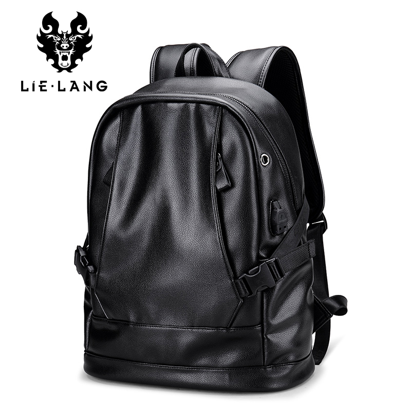 LIELANG Brand Leather Men Backpack With USB 15.6 Inch Laptop Backpack Bag Shool Simple Design Men Casual Daypacks Mochila Male casual waterproof simple men backpack