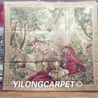 Yilong 5.7'x6.6' Real Gobelin Picture Tapestry Wall Hanging Pure Wool Aubusson Tapestry (Au30 5.7x6.6)