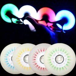 1 pcs 76mm LED Piscando Rolo Roda de Skate Patins patines Luz Deslizando o Rolo PU Patinação Inline Substituição da lâmina