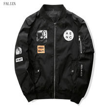 FALIZA 2018 New Spring Bomber Jacket with Hip Hop Patch Designs Fashion Men Slim Fit Pilot Bomber Jacket Coat Plus Size 4XL JK-S