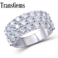 Transgems 2.8CTW карат F Цвет Лаборатория Grown Муассанит алмаз Обручение обручальное из натуральной Solid 14 К 585 Белое золото для для женщин