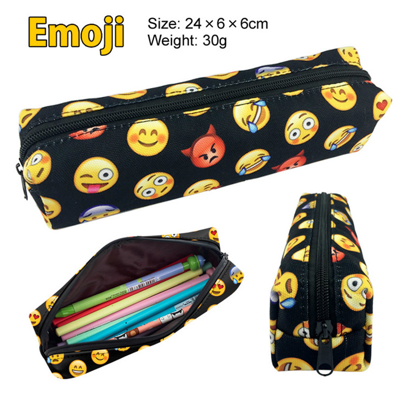 Cute Kawaii Emoji School Pencil Case Canvas Printing Penal Pencilcase For Girls Boys Large Pen Bag Stationery Pouch Box Supplies