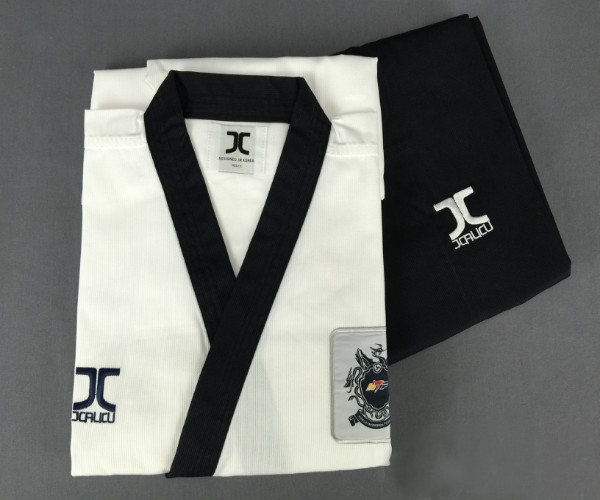 J-CALICU taekwondo dobok Adults Children Male Taekwondo Poomsae clothes cool cotton striped genuine for have Dan persons karate шапка dan
