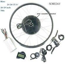EBIKE conversion kit 48V1000W hinten kassette brhshless nicht-getriebe hub motor elektrische fahrrad rad mit LCD3 display
