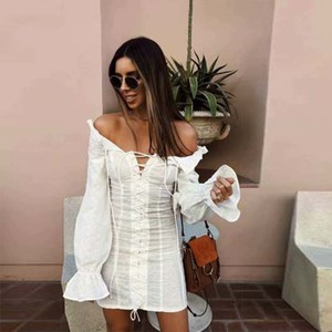 2019 sexy off shoulder dress women long sleeve ruffled dress summer party club chic lace embroidery floral mini dress