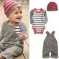 2017 venta Caliente ropa Del Bebé monos del Cabrito + Mameluco Del Bebé + Cap 3 unids/set traje de bebé Recién Nacido la ropa del bebé