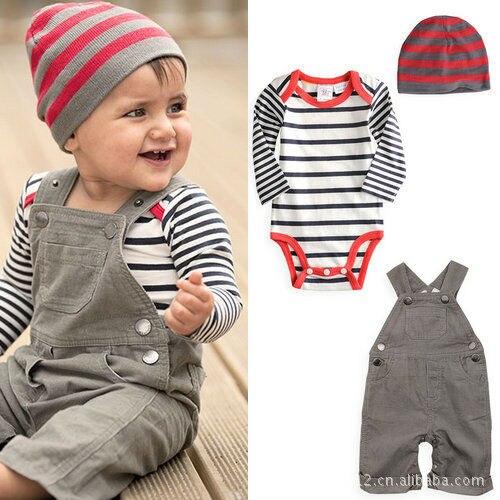 3fde045446d75 2018 vente chaude bébé garçon vêtements ensemble enfant salopette + bébé  barboteuse + casquette 3 pièces/ensemble bébé garçon costume nouveau-né bébé  ...