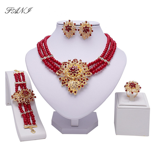 ניגרית Fani נשים סט תכשיטי קריסטל צבע זהב דובאי חתונת כלה אביזרי תכשיטי חרוזים אפריקאים סט עיצוב תלבושות