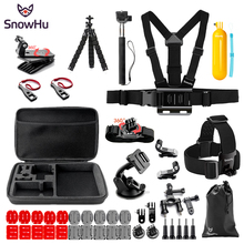 SnowHu for Go pro Accessories Set Kit Monopod Head Strap For SJCAM for Gopro Hero 7 6 5 4 for Yi 4K Camera SH85V snowhu for gopro accessories set for gopro hero 7 6 5 waterproof case protection frame monopod for go pro 7 6 gopro 5 gs73