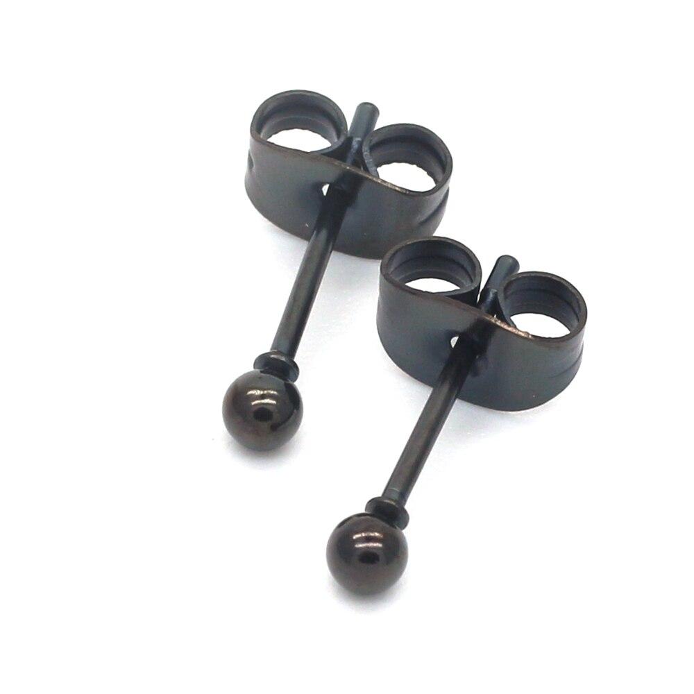 Preto pequenas bolas 2mm a 8mm parafuso prisioneiro brincos 316l aço inoxidável ip chapeamento nenhum desvanece-se alergia livre