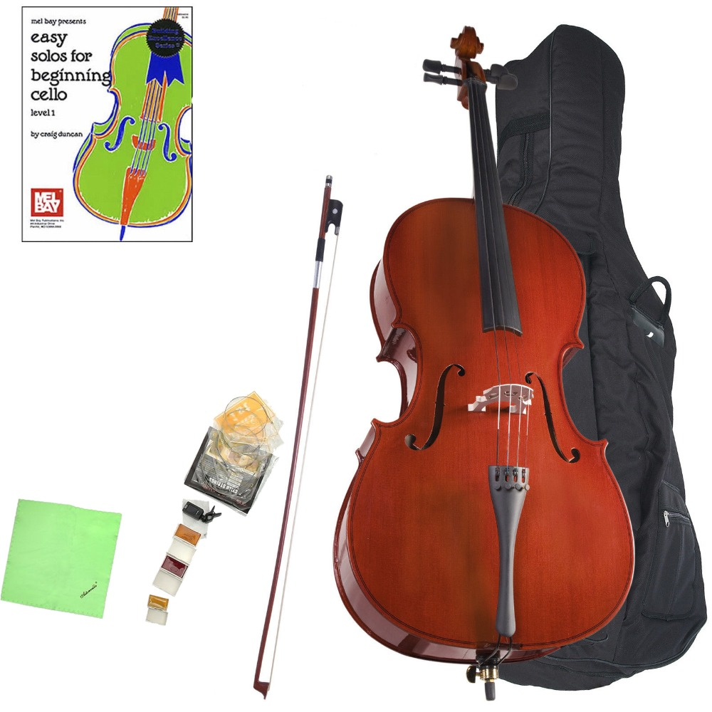 Durable Handmade 4/4 Cello 4/4 Cello Outfit & Bag & Strings & Tuner Solid Wood Student Cello Best For Beginners
