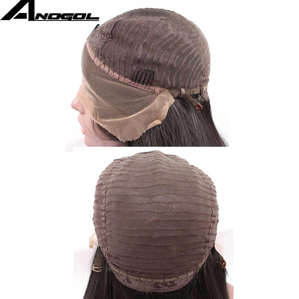 Anogol peluca con malla frontal, color marrón oscuro, pelo largo liso, sin pegamento, sintético, resistente al calor y a altas temperaturas, pelucas para mujer