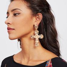 AOMU Baroque Gold Color Big Metal Cross Earrings For Women Bohemia Jewelry Rhinestones Cross Dangle Earrings Pendants Bijoux