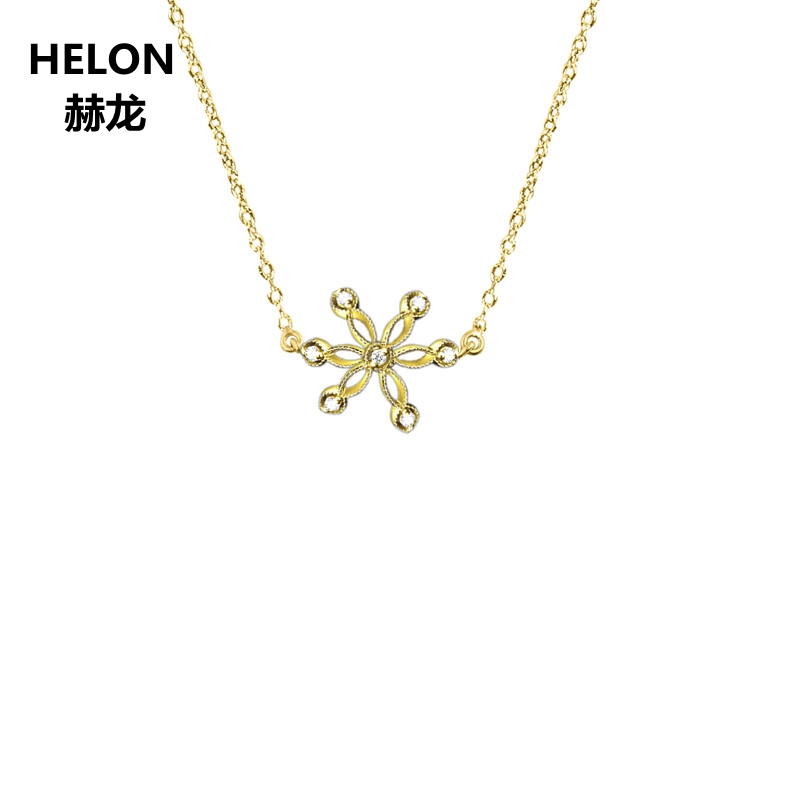 0.24ct SI/H Full Cut Natural Diamonds Pendant Necklace Solid 18k Yellow Gold Vintage Women Pendant Engagement Wedding Party Gift