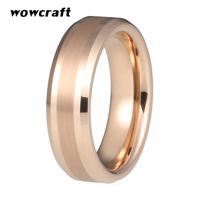 6mm 8mm Rose Gold Tungsten Carbide Rings for Men Women Wedding Bands Brushed Polished Beveled Edges Comfort Fit in Wedding Bands from Jewelry Accessories