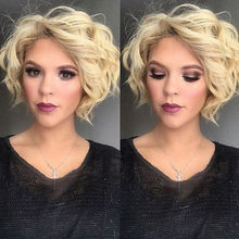 Temperature Fiber Deep Peruca Perruque Short Body Wave Full Hair Wigs Platinum Blonde Bob Synthetic Lace Front Wig Drop Shipping(China)