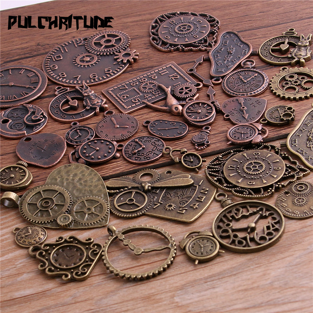 50PCS DIY Mixed Vintage Key Charms Pendant Steampunk Bronze Jewelry Finding Sa