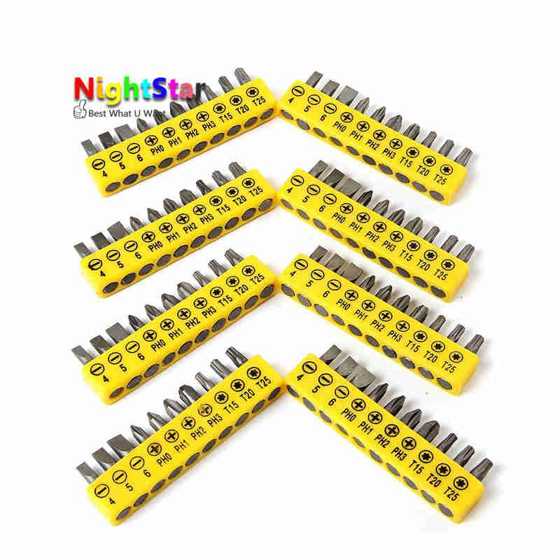 10Pcs/set Insert Bit Set Torx Flat Head Cross Electric Screwdriver Screws Head