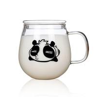 Kawaii Panda Cup High Quality Glass Cup With Lid Coffee Mug Portable Thermal Water Bottle Heat