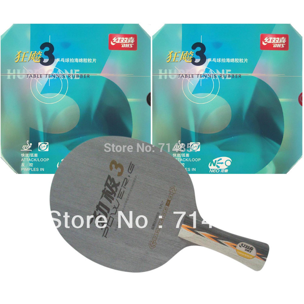 DHS POWER.G3 PG3 PG.3 PG 3 table tennis blade with 2x NEO Hurricane3 rubber with sponge for ONE racket Shakehand Long Handle FL  hrt 2091 blade dhs neo hurricane3 and milky way 9000e rubber with sponge for a table tennis racket shakehand long handle fl