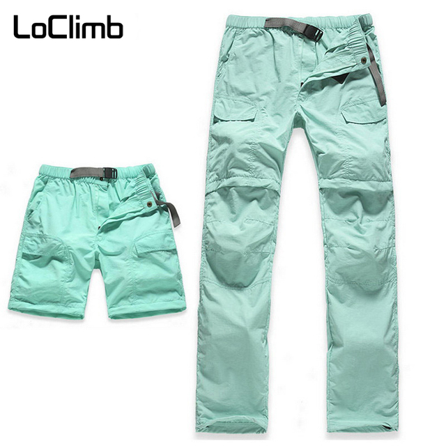LoClimb Womens Elastic Waist Camping Hiking Pants Women Summer Outdoor Sport Trekking Cycling Travel Quick Dry Trousers,AW031