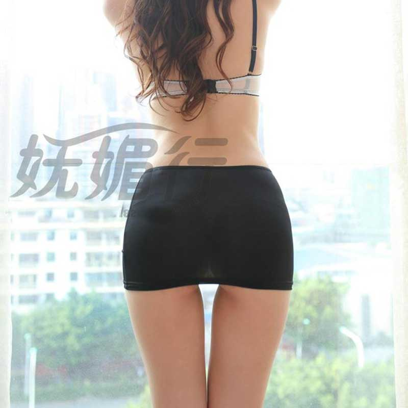 Sexy Women Milk Ice Silk See Through Cute Micro Mini Skirt Transparent Pencil Skirt Night Club Fantasy Erotic Wear Tight Skirt 6