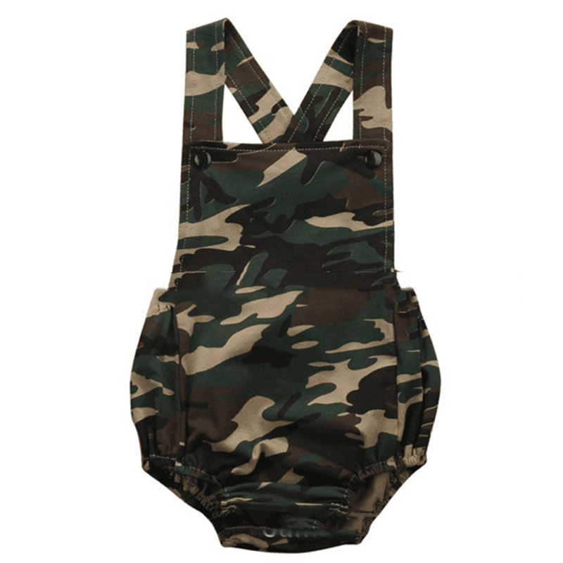 Newest Design Baby Boys Girls Clothes One Pieces Overalls Newborn Summer   Rompers   Camouflage Sleeveless   Rompers