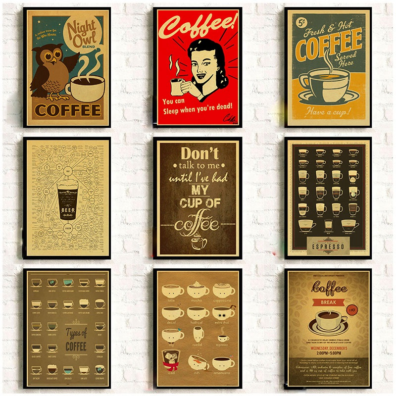 Large Coffee Beer Wine Kitchen Home Decor Poster Vintage Retro Wall Print Art