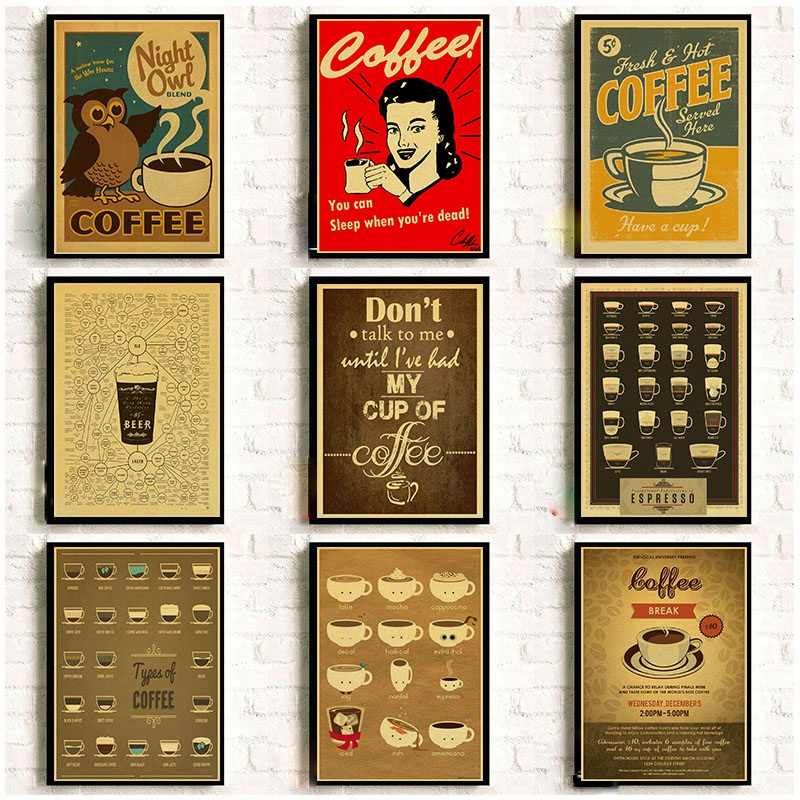 Coffee collection cafe kitchen decorative posters  vintage poster retro wall sticker 42*30/31*20cm