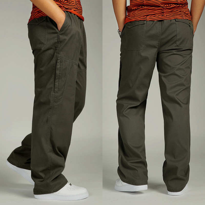Men's Trousers Cotton Autumn And Winter Thick Multi-pocket Plus Fat Large Size Sweatpants