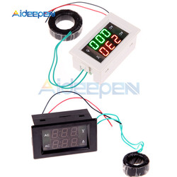 100A 200A AC 110V 220V LED Digital Ammeter Voltmeter Voltage Current Meter Red Green Display With Inductance AC 100-300V 80-300V